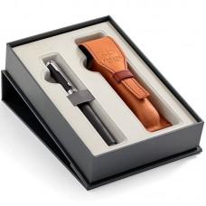 Набор с чехлом из натуральной кожи и ручкой Parker (Паркер) Ingenuity Large Black Rubber CT