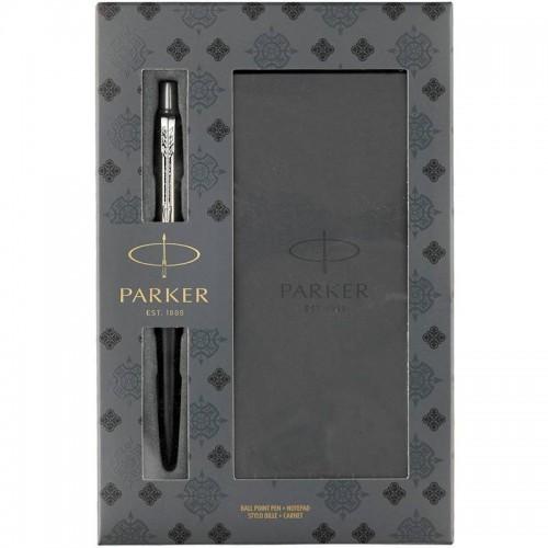 Подарочный набор из шариковой ручки Parker (Паркер) Jotter Core Bond Street Black CT и блокнота в Челябинске