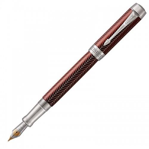 Перьевая ручка Parker (Паркер) Duofold Prestige Centennial Burgundy Chevron CT F в Челябинске
